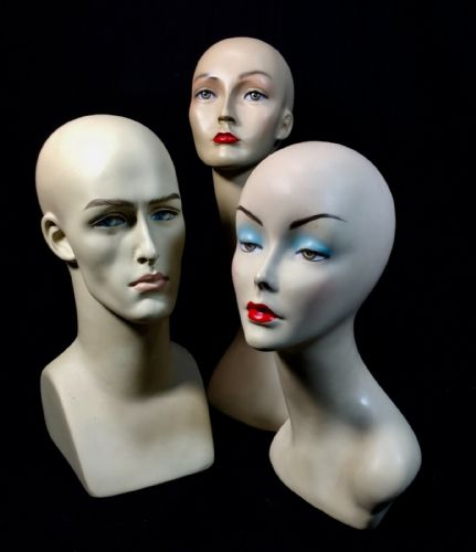 Vintage / Retro Shop Display Advertising Mannequin Head Lady / Man Set Of 3